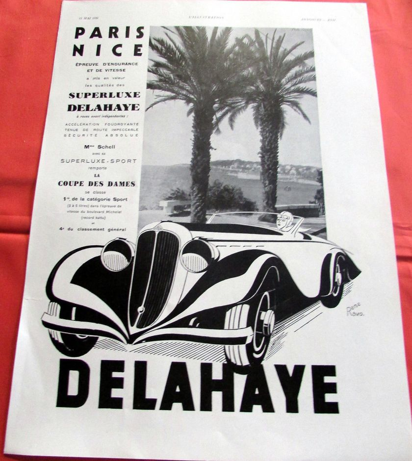 1935 DELAHAYE PARIS NICE RENE RAVO AUTOMOBILE PUBLICITE ANCIENNE