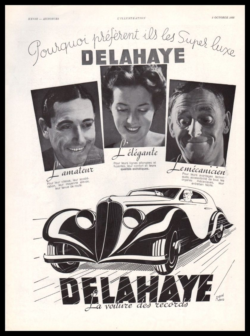 1935 - Original DELAHAYE AUTOMOBILIA Ad RENE RAVO Vintage Advertising
