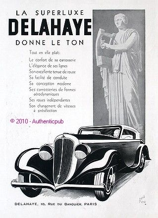 1935 PUBLICITE AUTOMOBILE DELAHAYE LA SUPERLUXE SIGNE RENE RAVO DE 1935 FRENCH AD CAR