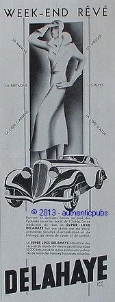 1935 PUBLICITE AUTOMOBILE DELAHAYE SUPER LUXE WEEK END REVE R. RAVO DE 1935 FRENCH AD