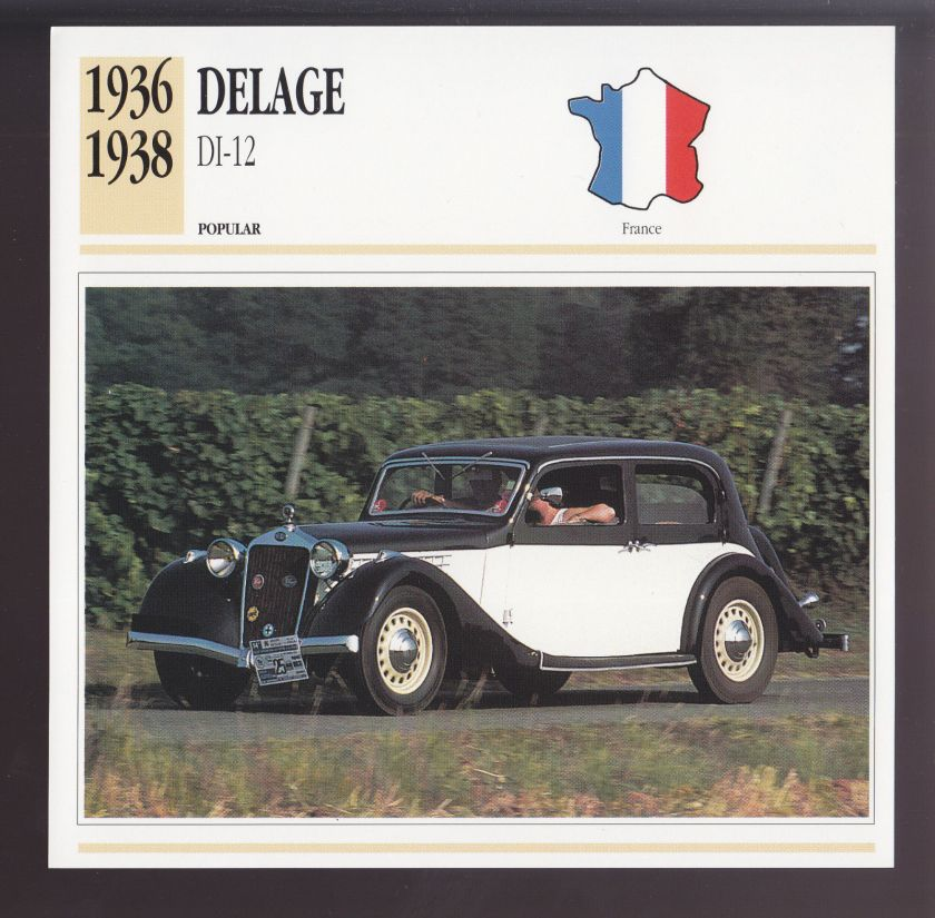 1936 1937 1938 Delage DI-12 (Delahaye 134) France Car Photo Spec Sheet Info CARD