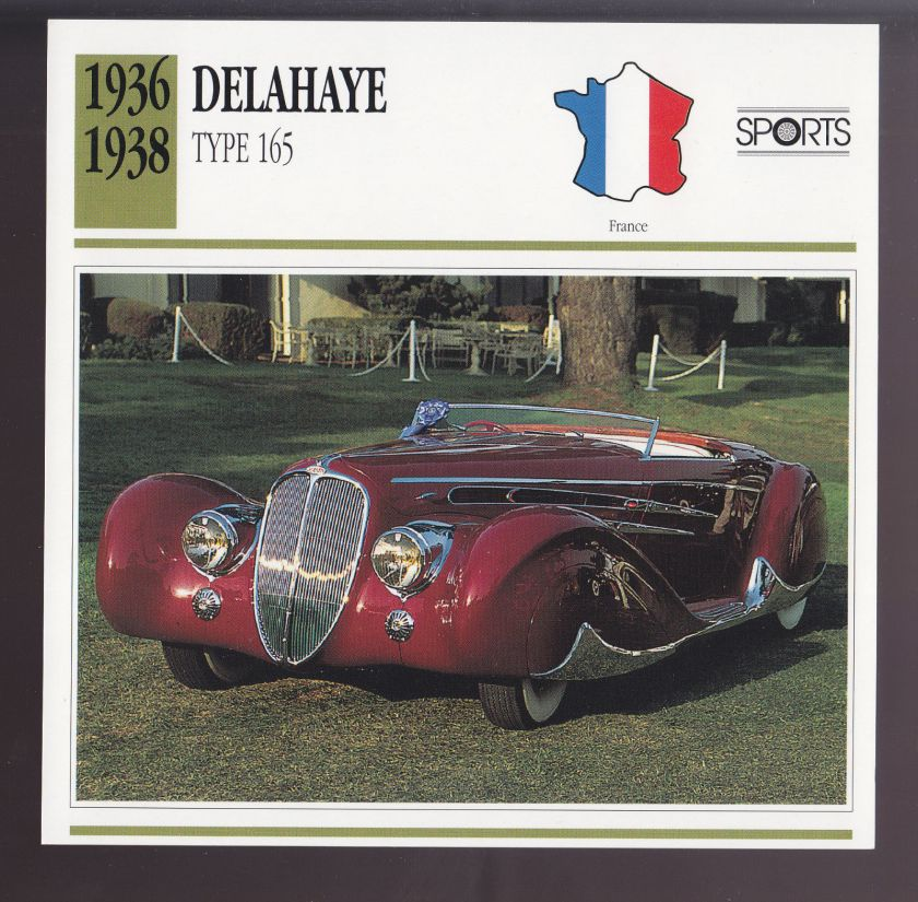 1936 1937 1938 Delahaye Type 165 France Car Photo Spec Sheet Info ATLAS CARD