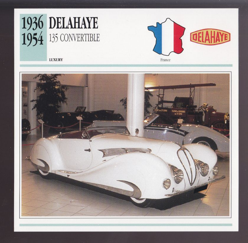1936-1954 Delahaye 135 Convertible France Luxury Car Photo Spec Sheet Info CARD