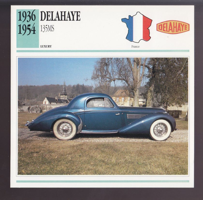 1936-1954 Delahaye 135 MS (1948) Henri Chapron Car Photo Spec Sheet Info CARD