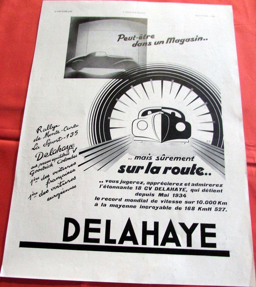 1936 DELAHAYE MONTE CARLO C S AUTOMOBILE PUBLICITE ANCIENNE