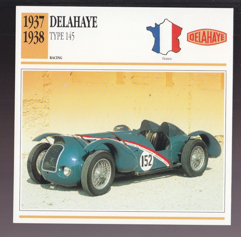 1937-1938 Delahaye Type 145 France Race Car Photo Spec Sheet Info ATLAS CARD