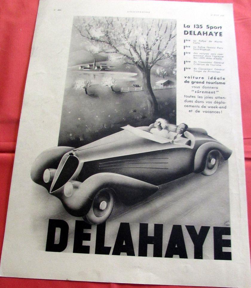 1937 DELAHAYE 135 SPORT RENE RAVO AUTOMOBILE PUBLICITE ANCIENNE