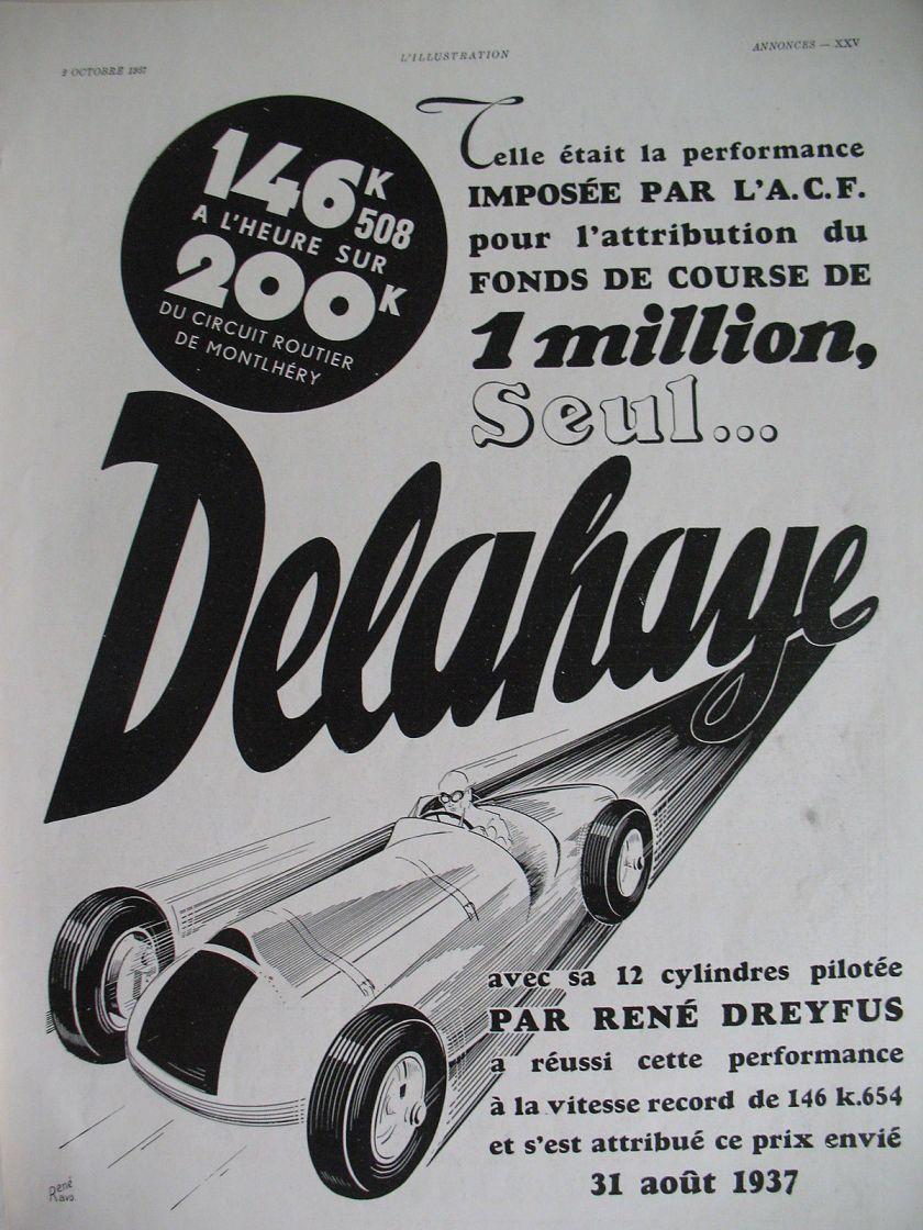 1937 PUBLICITE 38 x 28 AUTOMOBILE DELAHAYE