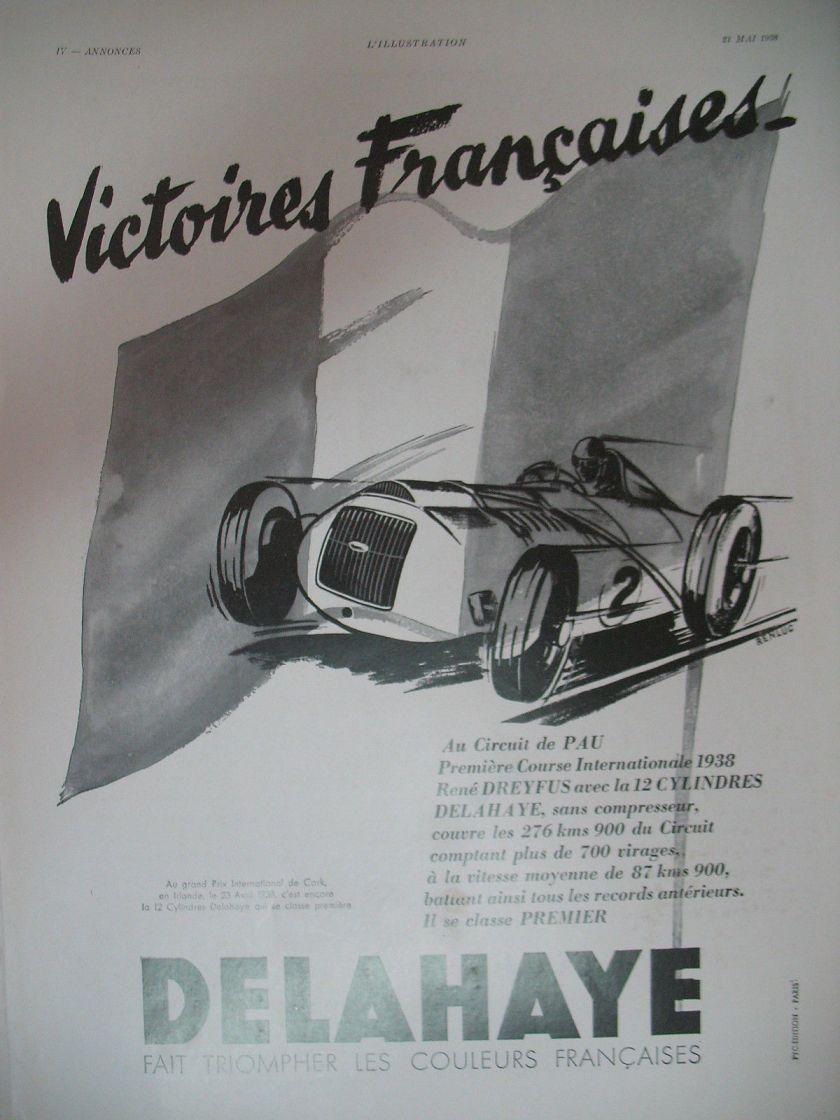 1938 PUBLICITE DE PRESSE DELAHAYE AUTOMOBILE VICTOIRE A PAU ILLUSTRATION RENLUC 1938