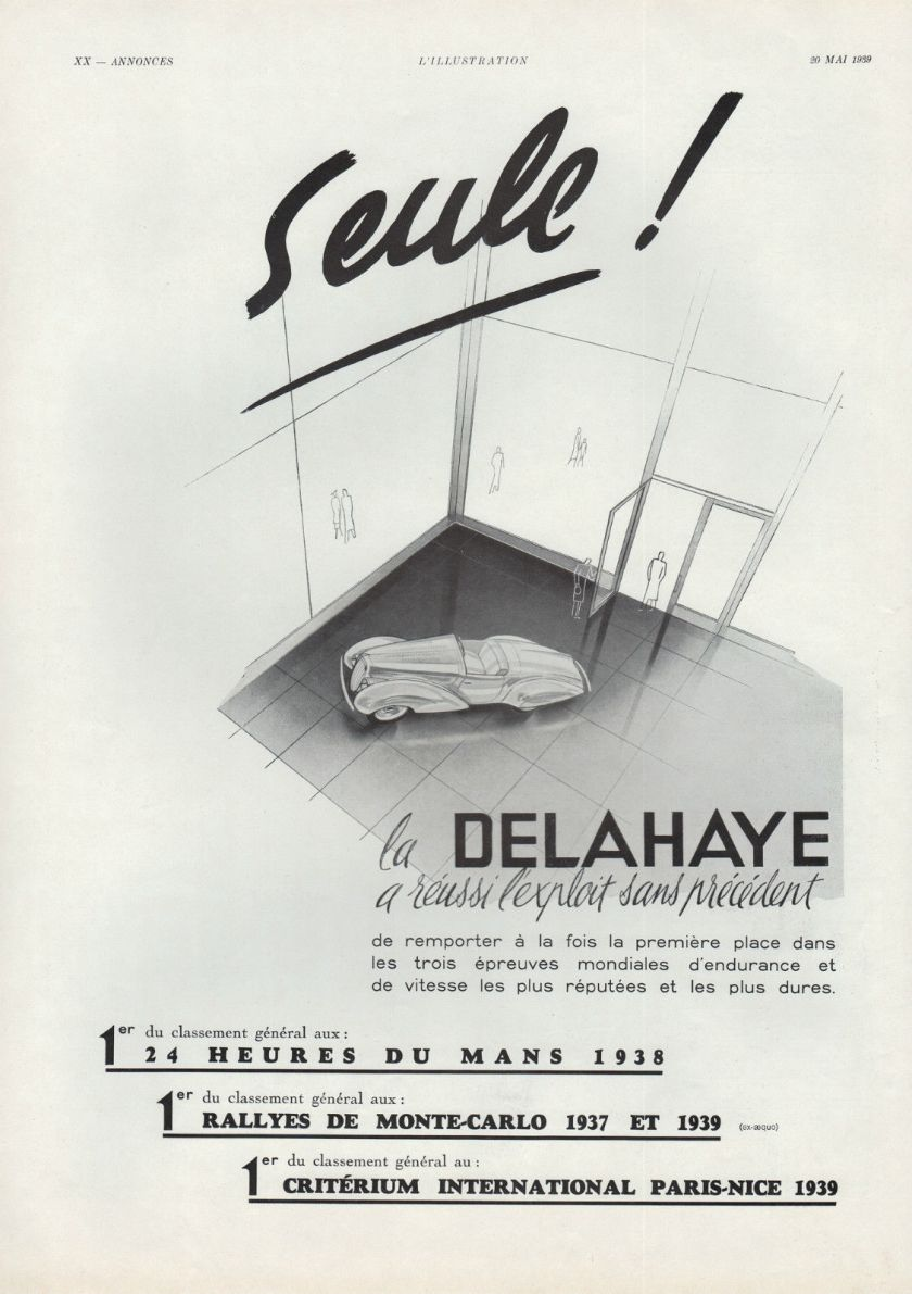 1939 PUBLICITE DELAHAYE VOITURE LUXE FRENCH CAR AD 1939 4d