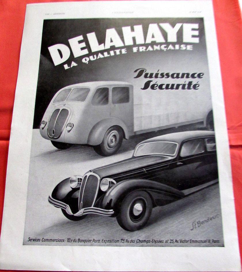 1940 DELAHAYE PUISSANCE AUTOMOBILE PUBLICITE ANCIENNE