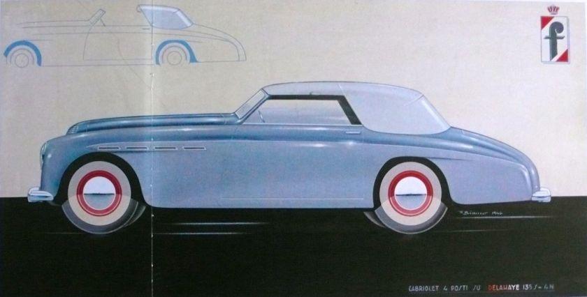 1946 DELAHAYE Cabriolet PININFARINA Design Car Rare Art Print a