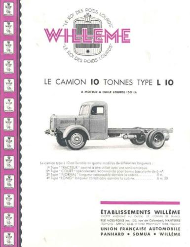 1946 Willeme 10 Ton L10 Truck Brochure French wh1491-DNBMY6