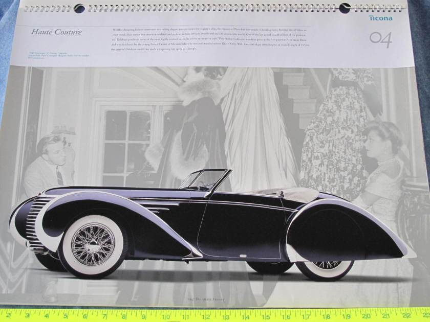 1947 Delahaye 135 Franay Cabriolet Ticona April 1999 Reflections Calendar B8159 a