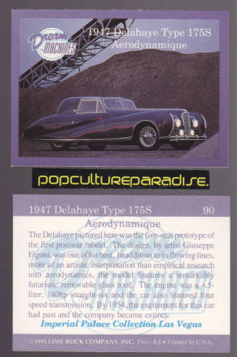 1947 DELAHAYE TYPE 175S AERODYNAMIQUE Dream Cars CARD
