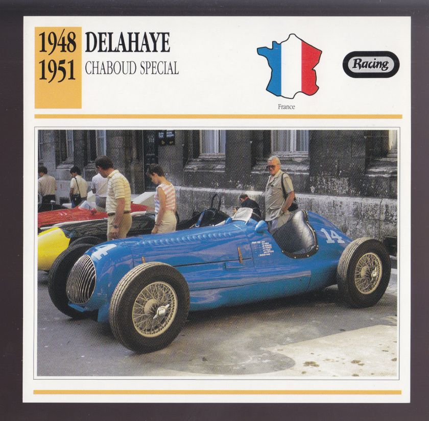 1948-1951 Delahaye Chaboud Special Race Car Photo Spec Sheet Info CARD 1949 1950