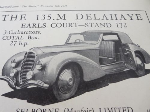 1948 Delahaye Sales Sheet Brochure Selborne Mayfair Limited - Earls Court Motor a