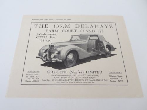 1948 Delahaye Sales Sheet Brochure Selborne Mayfair Limited - Earls Court Motor