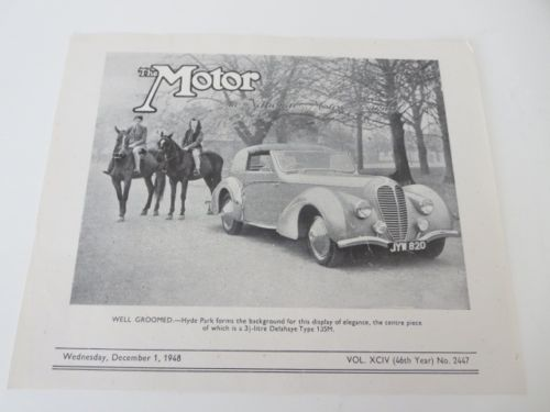 1948 Delahaye Type 135M Sales Sheet Brochure Selborne Mayfair Limited The Motor 1