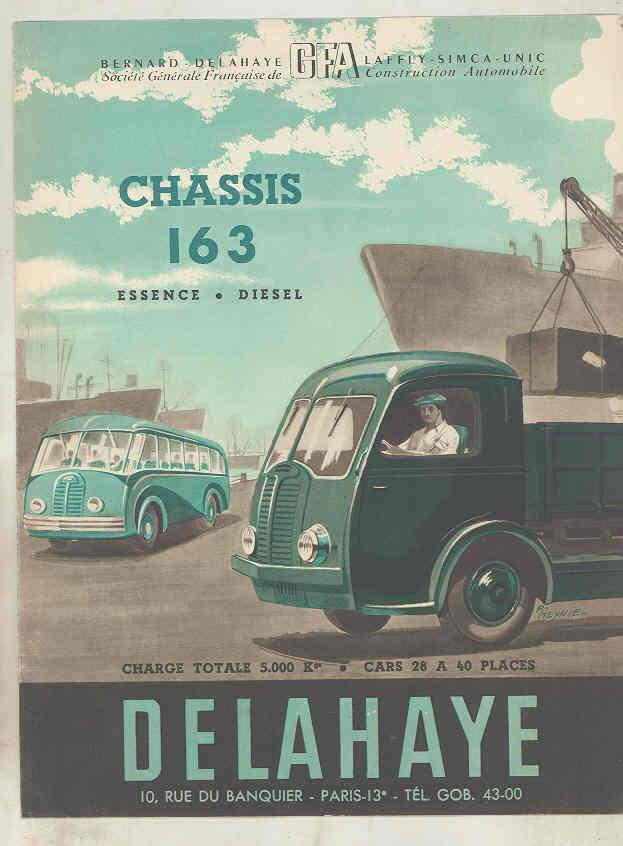1949 Delahaye 163 Tank Dump Van Truck & Bus Brochure French wu7805 a