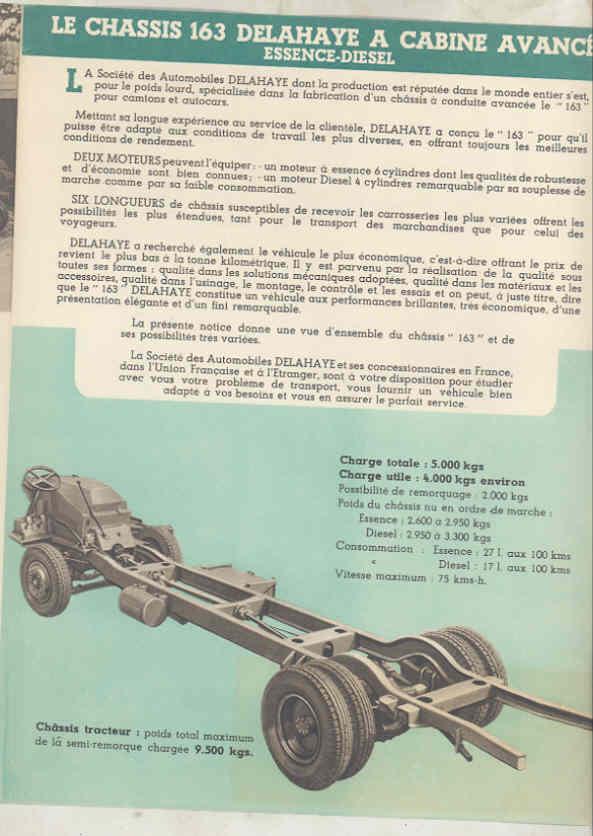1949 Delahaye 163 Tank Dump Van Truck & Bus Brochure French wu7805 c