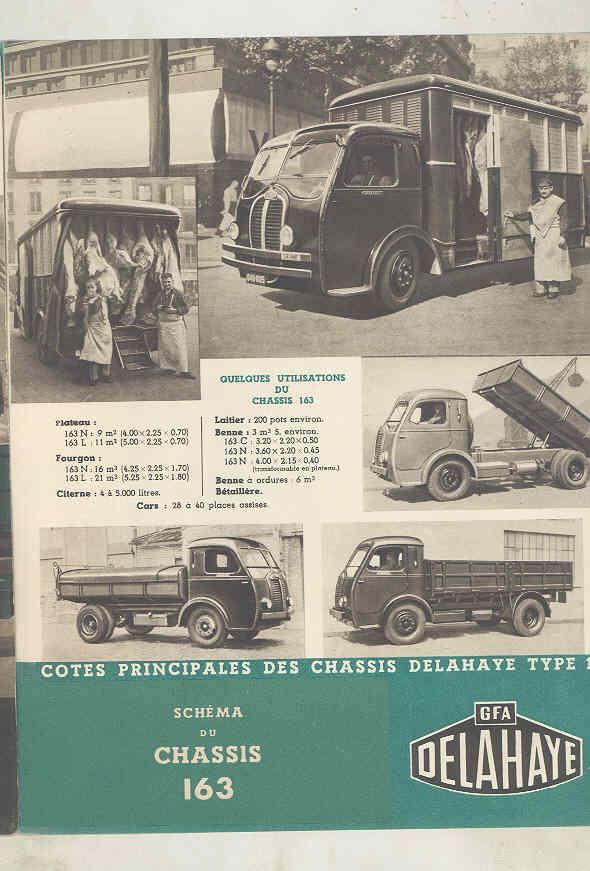 1949 Delahaye 163 Tank Dump Van Truck & Bus Brochure French wu7805 d
