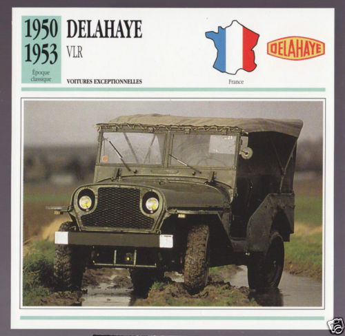 1950-1953 Delahaye VLR (Type 182) Army Jeep Car Photo Spec French Card 1951 1952