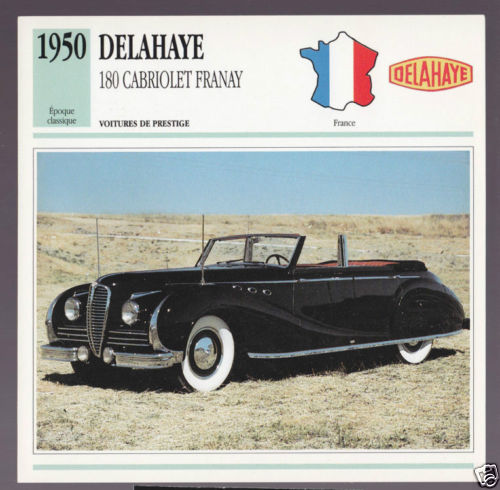 1950 Delahaye 180 Cabriolet Franay Convertible Car Photo Spec Sheet French Card