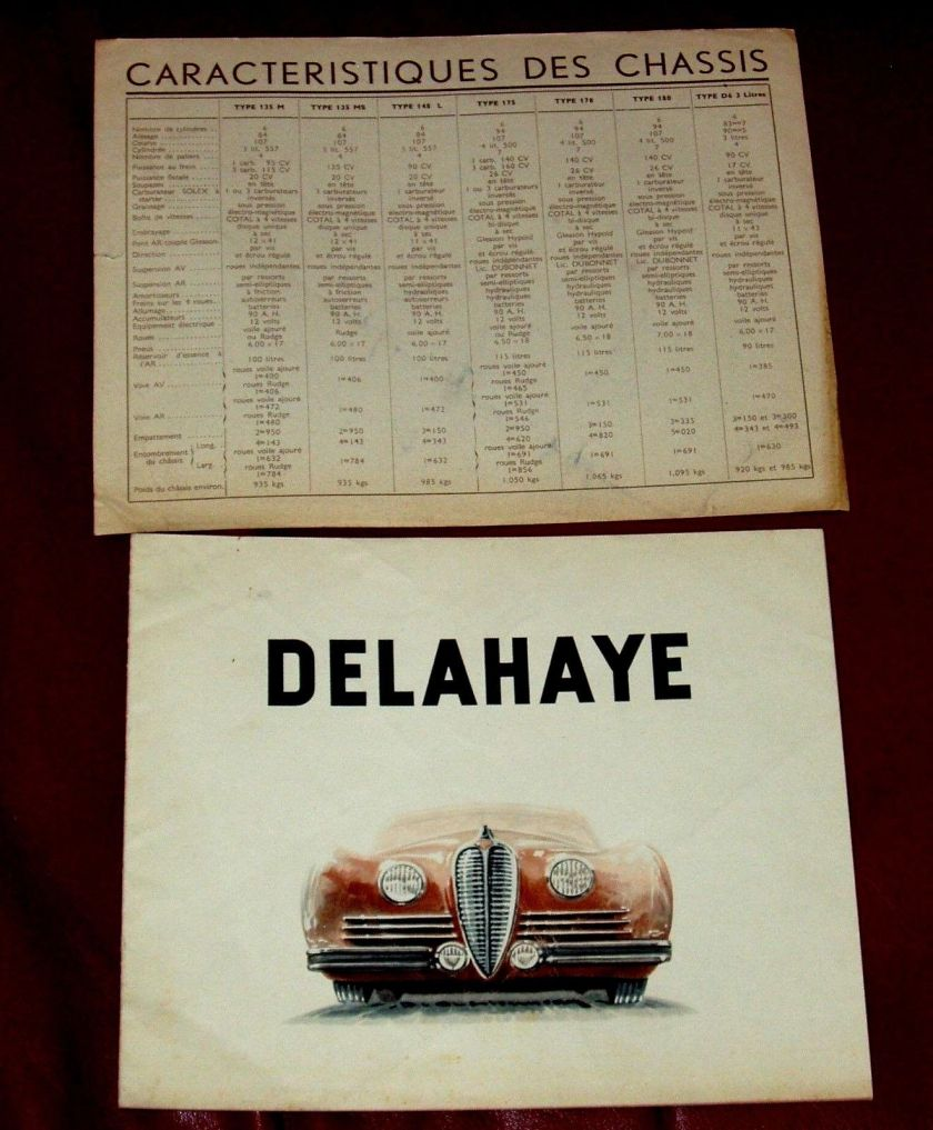 1950 DELAHAYE Type 135 M - 148 L - 135 MS - 175 - French text - 8-pgs brochure 1