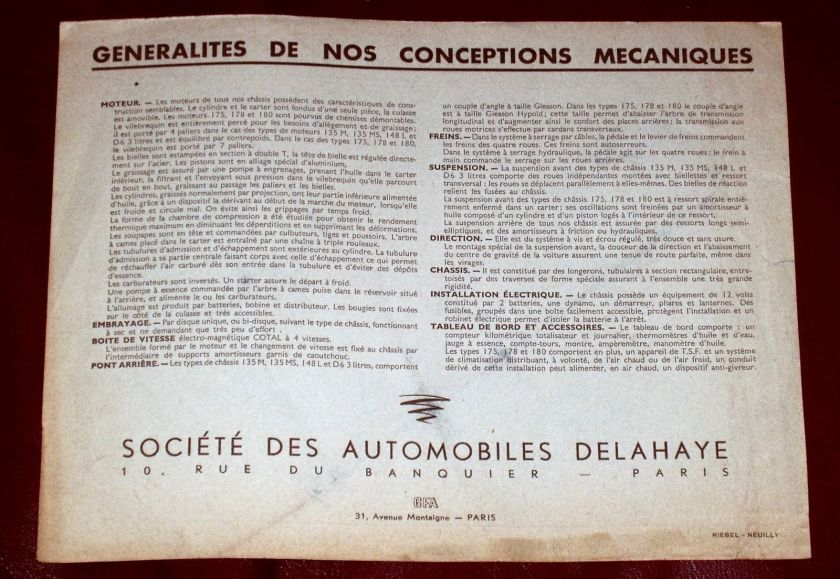 1950 DELAHAYE Type 135 M - 148 L - 135 MS - 175 - French text - 8-pgs brochure 8