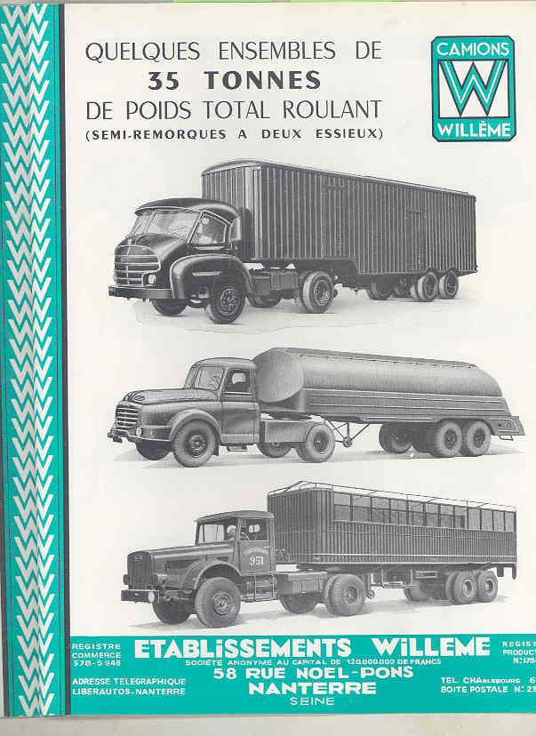 1950 Willeme 10-35Ton Construction Dump Semi Truck Brochure Military Tank wu7999 h