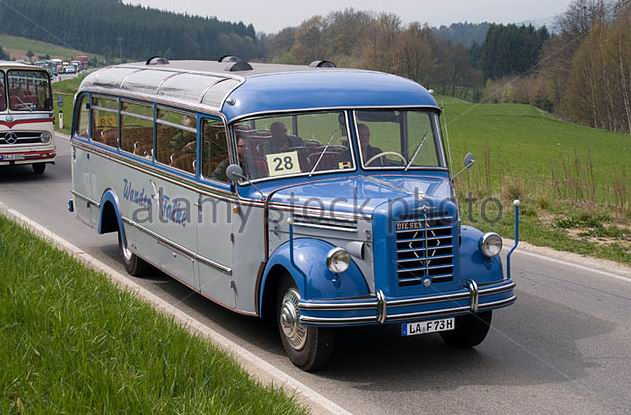 1950's Borgward coach from Germany travels through the Austrian countryside