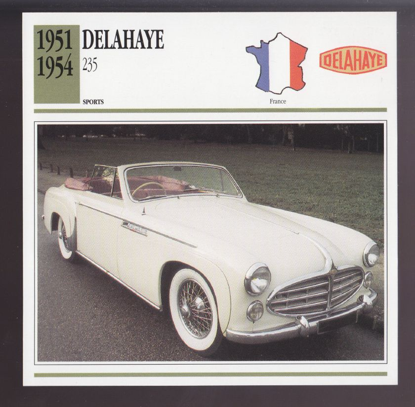 1951-1954 Delahaye 235 Convertible Car Photo Spec Sheet Info CARD 1952 1953