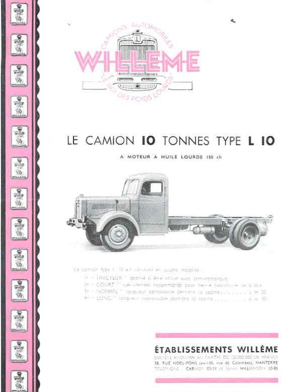 1951 Willeme K10 10 Ton Truck Sales Brochure French wf9599-VA1YH5 1