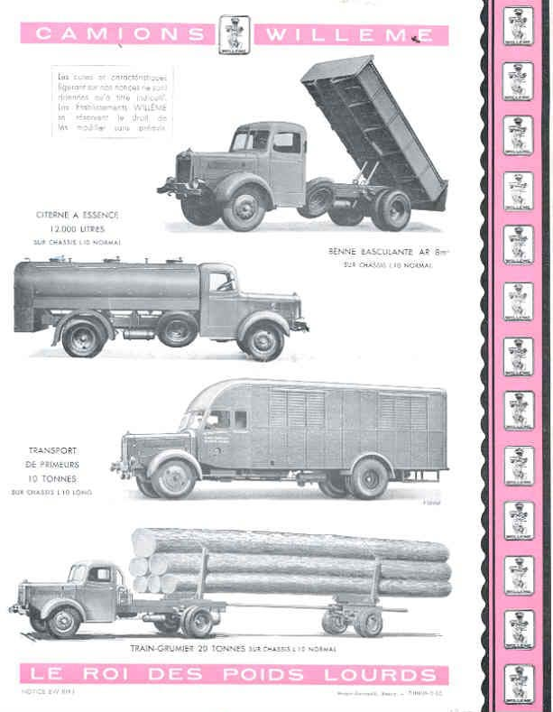1951 Willeme K10 10 Ton Truck Sales Brochure French wf9599-VA1YH5 4