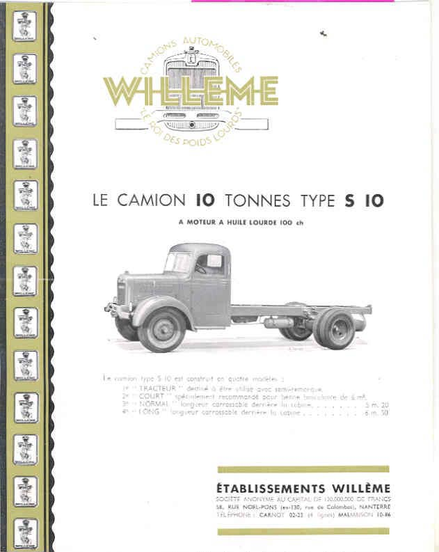 1951 Willeme S10 10 Ton Truck Sales Brochure French wf9600-LEMC8G a