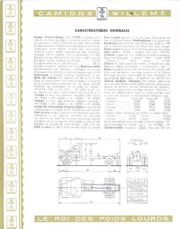 1951 Willeme S10 10 Ton Truck Sales Brochure French wf9600-LEMC8G c