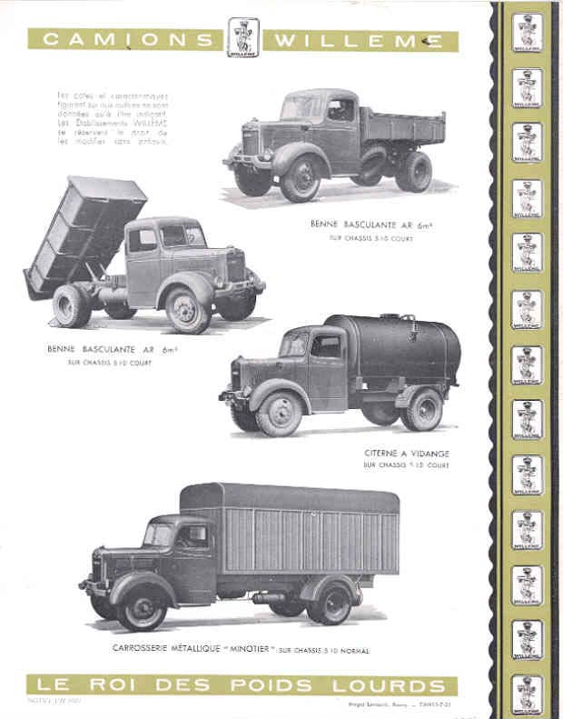 1951 Willeme S10 10 Ton Truck Sales Brochure French wf9600-LEMC8G d