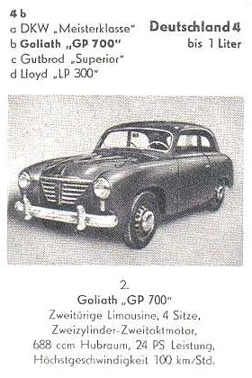 1952 Goliath GP700-GERMANYup to 1liter