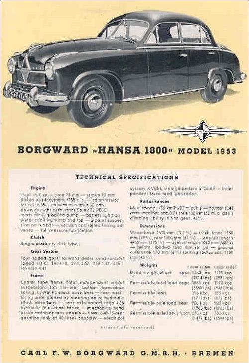 1953 Borgward Hansa 1800 cabriolet