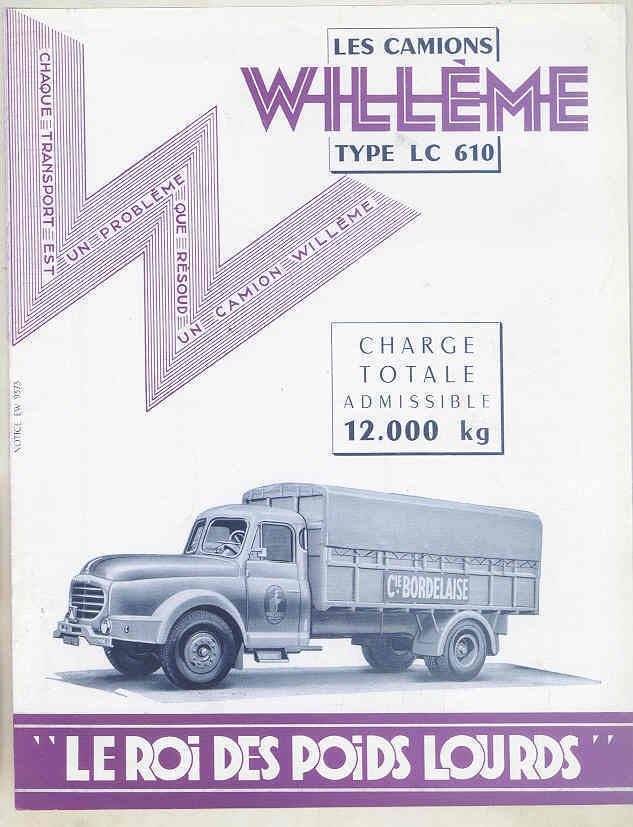 1953 Willeme Type LC610 Tank Dump 6 Ton Diesel Truck Brochure wu5062