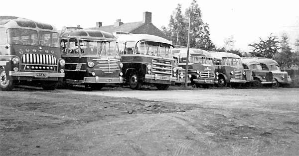 1956 wagens Lijstertours vlnr de DAF 12, de Büssing 14, de DAF 9, de Borgward 10, de Bedford 7, de Franse Ford 4, de Volvo 3 de Opel 8 en de Opel 16