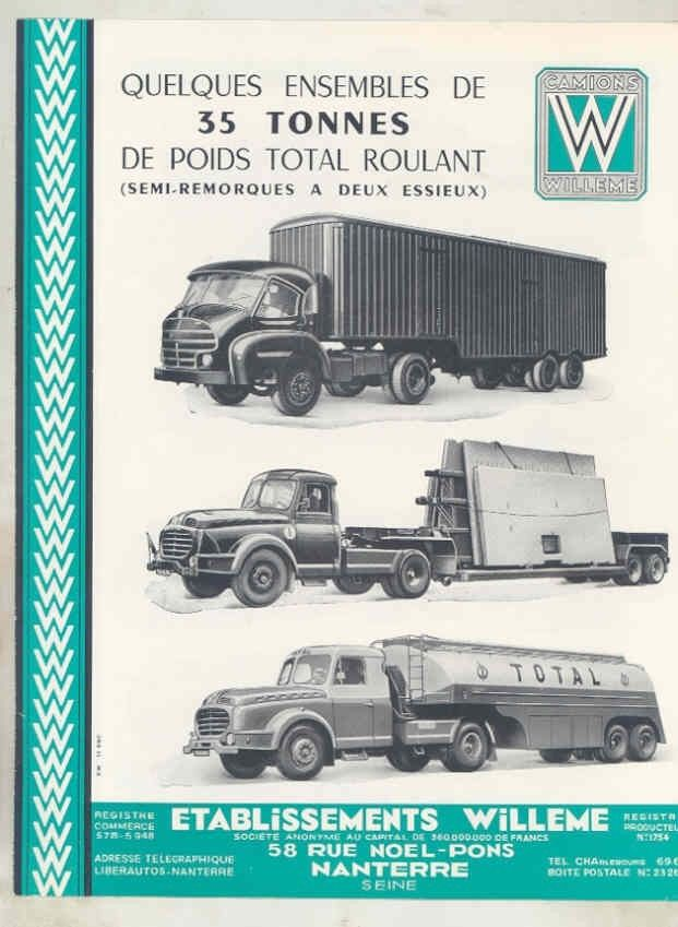 1958 Willeme 35 Ton Tractor Trailer Truck Brochure French wv8234