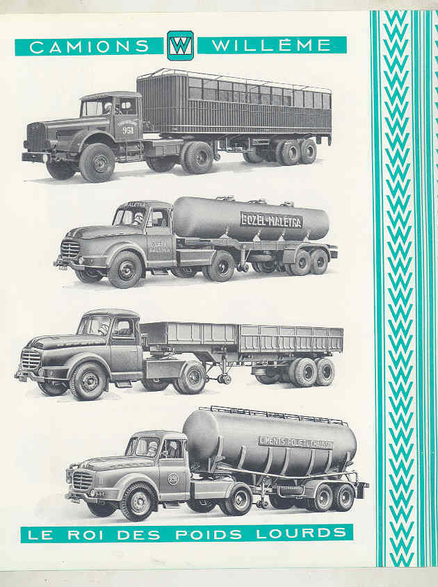 1958 Willeme 35 Ton Tractor Trailer Truck Brochure French wv8234a