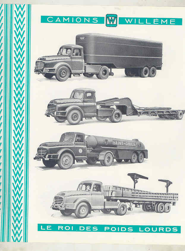 1958 Willeme 35 Ton Tractor Trailer Truck Brochure French wv8234b