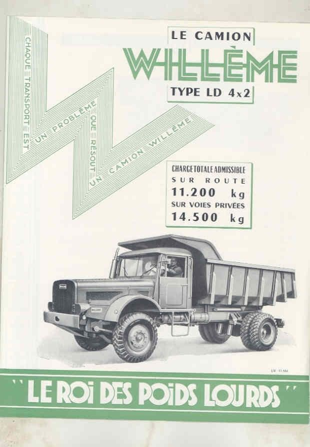 1958 Willeme LD 4x2 11 Ton Diesel Construction Dump Truck Brochure French wv7897