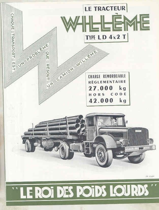 1958 Willeme LD 4x2 13.5-21 Ton Tractor Trailer Truck Brochure French wv8233 a