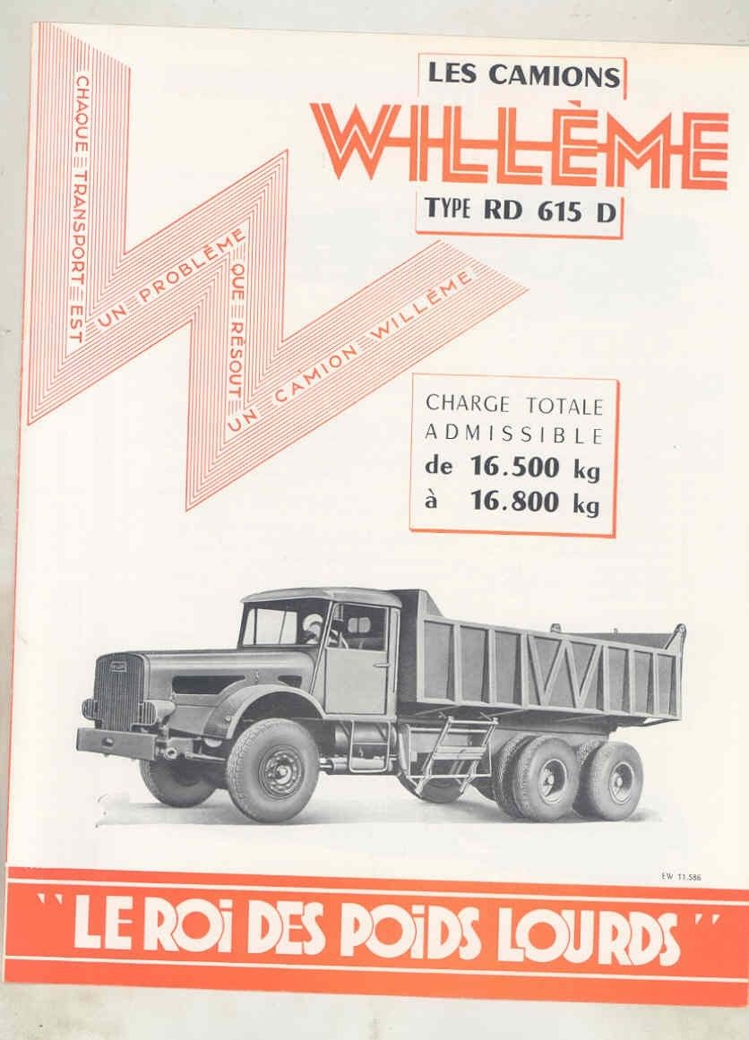 1958 Willeme RD615D 16 Ton Diesel Construction Dump Truck Brochure French wv7896