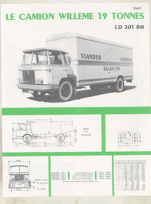1960 Willeme 19 Ton Truck Brochure French wu7998