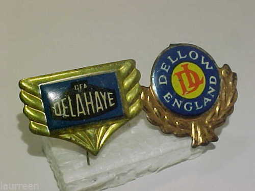1960's Delahaye & Dellow Logo Lapel Pin Tin Sixties 60's